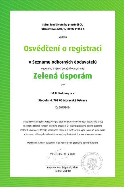 Registrace zelená úsporám